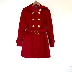 Forever 21 Dark Red Wool Coat with Gold Buttons S